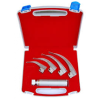 Fibre Optic Laryngoscope set 4 blades with 2 extra LED bulbs